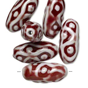 bead, glazed porcelain, red and white, 33x15mm textured oval with 3mm hole. sold per pkg of 6.