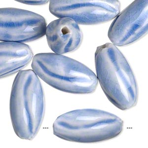 bead, glazed porcelain, white and blue, 23x12mm textured oval with 2mm hole. sold per pkg of 10.