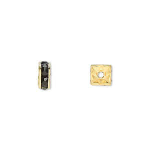 bead, gold-finished brass and rhinestone, black, 6x3mm squaredelle. sold per pkg of 10.