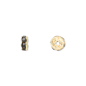 bead, gold-finished brass and rhinestone, black, 7x3.5mm rondelle. sold per pkg of 10.