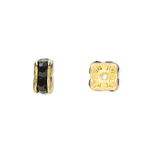 bead, gold-finished brass and rhinestone, black, 8x4mm squaredelle. sold per pkg of 10.