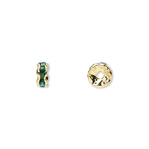 bead, gold-finished brass and rhinestone, emerald green, 6x3mm rondelle. sold per pkg of 10.