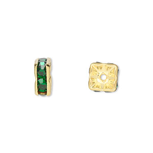 bead, gold-finished brass and rhinestone, emerald green, 8x4mm squaredelle. sold per pkg of 10.
