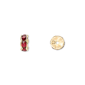 bead, gold-finished brass and rhinestone, garnet red, 7x3.5mm rondelle. sold per pkg of 10.
