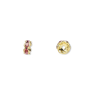 bead, gold-finished brass and rhinestone, rose, 5x2mm rondelle. sold per pkg of 10.