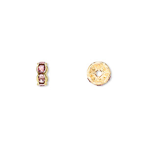 bead, gold-finished brass and rhinestone, rose, 7x3.5mm rondelle. sold per pkg of 10.