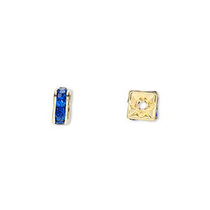 bead, gold-finished brass and rhinestone, sapphire blue, 6x3mm squaredelle. sold per pkg of 10.