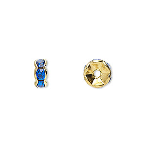 bead, gold-finished brass and rhinestone, sapphire blue, 7x3mm rondelle. sold per pkg of 10.