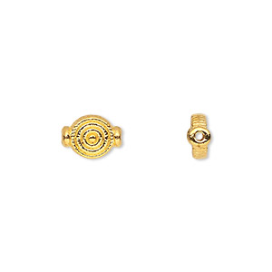 bead, gold-finished pewter (zinc-based alloy), 9x7mm double-sided flat round with target design. sold per pkg of 50.