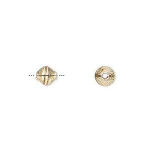 bead, gold-finished steel, 6.5x6mm coiled double cone. sold per pkg of 10.