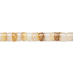 bead, gold lip shell (natural), 4-5mm hand-cut heishi with 0.5-1mm hole, mohs hardness 3-1/2. sold per 24-inch strand.