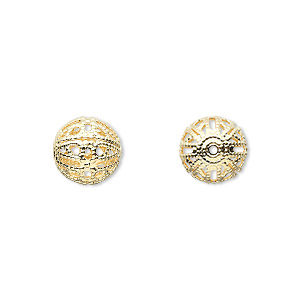 bead, gold-plated brass, 10mm filigree round. sold per pkg of 10.