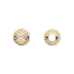 bead, gold-plated brass, 10mm weave round with cutouts, 4.5mm hole. sold per pkg of 100.