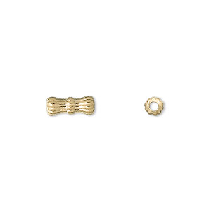 bead, gold-plated brass, 10x4mm corrugated tube. sold per pkg of 100.