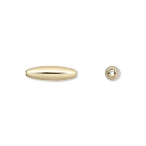 bead, gold-plated brass, 15x4.5mm smooth oval. sold per pkg of 100.