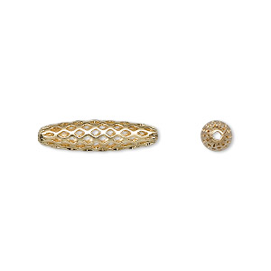 bead, gold-plated brass, 19x5mm weave oval with cutouts. sold per pkg of 100.