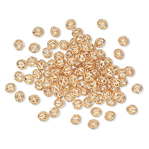 bead, gold-plated brass, 4mm cutout round. sold per pkg of 100.