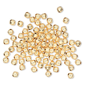 bead, gold-plated brass, 4x4mm corrugated double cone. sold per pkg of 100.