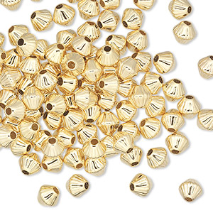 bead, gold-plated brass, 5x5mm corrugated double cone. sold per pkg of 100.