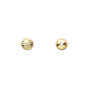 bead, gold-plated brass, 6mm corrugated round. sold per pkg of 1,000.
