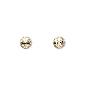 bead, gold-plated brass, 6mm filigree round. sold per pkg of 100.