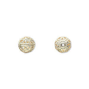 bead, gold-plated brass, 8mm filigree round. sold per pkg of 100.