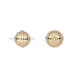 bead, gold-plated carbon steel, 10mm rimmed round. sold per pkg of 20.
