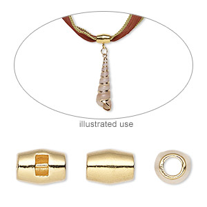 bead, gold-plated pewter (zinc-based alloy), 10.5x8mm oval with 2.5mm bar and 2.5x1.5mm hole, 3.5mm inside diameter. sold per pkg of 4.