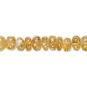 bead, golden citrine (heated), 7x4mm-9x6mm hand-cut rondelle, c grade, mohs hardness 7. sold per 14-inch strand.