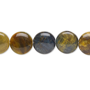 bead, golden pietersite (natural), 12mm puffed flat round, b grade, mohs hardness 6-1/2 to 7. sold per 8-inch strand, approximately 15 beads.