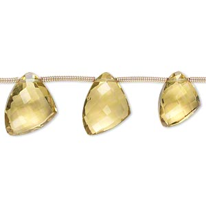 bead, golden quartz (heated), light to dark, 12x9x9mm-15x12x12mm graduated hand-cut top-drilled faceted irregular triangle, b+ grade, mohs hardness 7. sold per pkg of 6 beads.