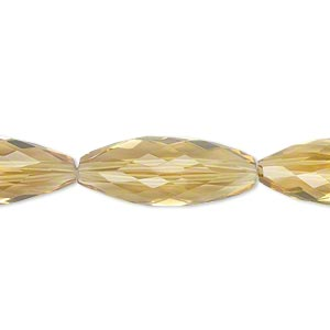 bead, golden quartz (heated), light to dark, 23x9mm hand-cut faceted triangular oval, b+ grade, mohs hardness 7. sold per pkg of 4.