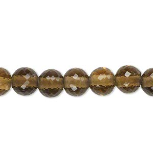 bead, golden quartz (heated), light to dark, 8mm hand-cut faceted round with 2mm hole, b+ grade, mohs hardness 7. sold per pkg of 10.