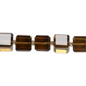 bead, golden quartz (heated), light to dark, 8x8mm faceted cube, b grade, mohs hardness 7. sold per pkg of 5.