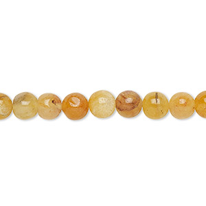 bead, golden quartz (natural), 4-6mm hand-cut round, c grade, mohs hardness 7. sold per 13-inch strand.