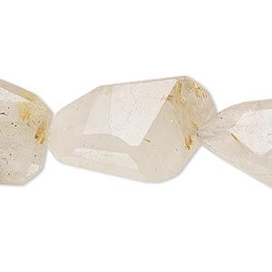 bead, golden rutilated quartz (natural), medium to extra-large hand-cut faceted nugget, mohs hardness 7. sold per 6-inch strand.