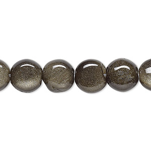 bead, golden sheen obsidian (natural), 10mm flat round, a- grade, mohs hardness 5 to 5-1/2. sold per 16-inch strand.