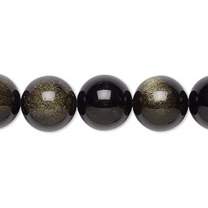 bead, golden sheen obsidian (natural), 12mm round with 0.5-1.5mm hole, a grade, mohs hardness 5 to 5-1/2. sold per 8-inch strand, approximately 15 beads.