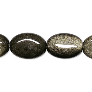 bead, golden sheen obsidian (natural), 16x12mm flat oval, a grade, mohs hardness 5 to 5-1/2. sold per 16-inch strand.
