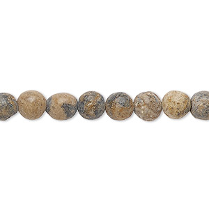 bead, grain stone (natural), matte dark, 6mm round, d grade, mohs hardness 3. sold per 16-inch strand.