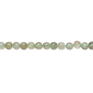 bead, green apatite (natural), 3-4mm hand-cut round, c- grade, mohs hardness 5. sold per 13-inch strand.
