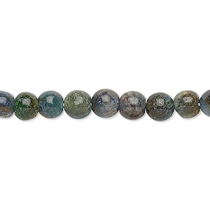 bead, green aventurine and blue-green aventurine (natural / dyed), 5-6mm hand-cut round, c grade, mohs hardness 7. sold per 12-inch strand.