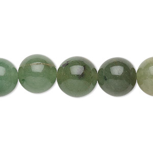 bead, green aventurine (natural), 12mm round, c grade, mohs hardness 7. sold per 15-inch strand.