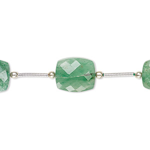bead, green aventurine (natural), 12x10mm-14x10mm hand-cut faceted rectangle, b grade, mohs hardness 7. sold per pkg of 5 beads.