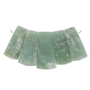 bead, green aventurine (natural), 30x18mm-36x20mm graduated hand-cut top-drilled fan, c grade, mohs hardness 7. sold per 5-piece set.