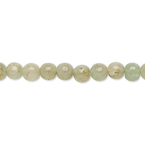 bead, green aventurine (natural), 5-6mm hand-cut round, d grade, mohs hardness 7. sold per 12-inch strand.