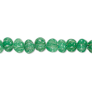 bead, green aventurine (natural), 7x4mm-8x6mm hand-cut carved rondelle, c grade, mohs hardness 7. sold per 13-inch strand.