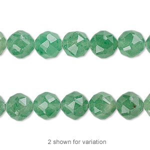 bead, green aventurine (natural), 8mm rose-cut round with 0.5-1.5mm hole, b grade, mohs hardness 7. sold per 8-inch strand, approximately 20 beads.