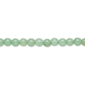 bead, green aventurine (natural), dark, 4mm round, b grade, mohs hardness 7. sold per 16-inch strand.