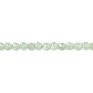 bead, green aventurine (natural), light to medium, 4mm faceted round, b grade, mohs hardness 7. sold per 16-inch strand.